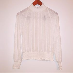 Free People off white mock neck blouse | Size S